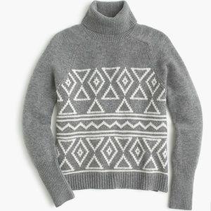 J Crew Fair Isle Classic Turtleneck Sweater Gray M